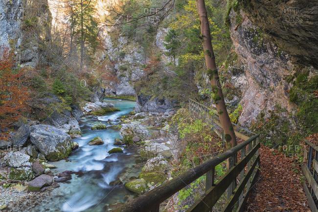 The Orrido  of Slizza is a beautiful water trail, Slizza stream, Julian Alps, Udine district, Friuli Venezi, Italy