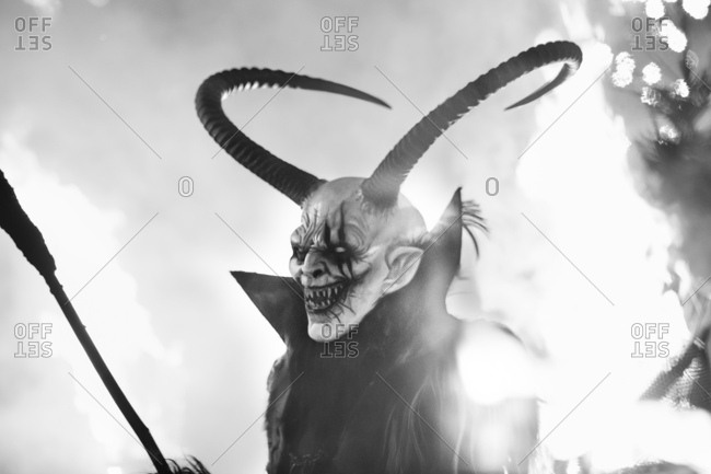 Krampus: a half-goat, half-demon, horrific beast who literally beats people into being nice and not naughty. Krampus, whose name is derived from the German word krampen, meaning claw, is said to be the son of Hel in Norse mythology. Friuli Venezia Giulia, Friuli, Italy