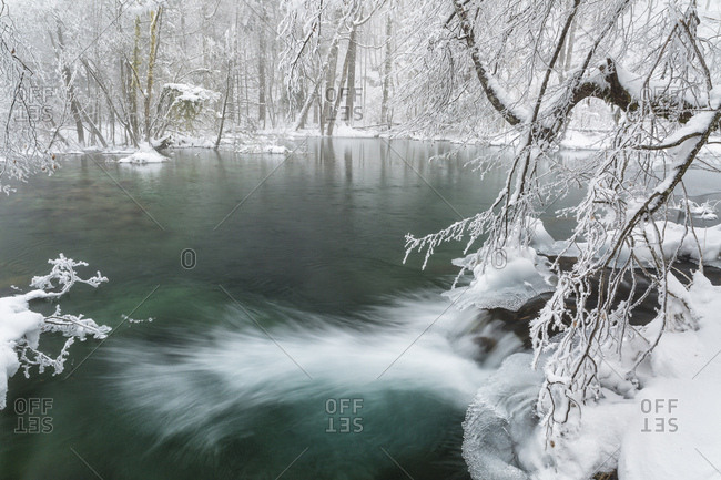 Frozen lakes and waterfalls in Plitvice Lakes National Park, Croatia, Jezerce, Dalmatia