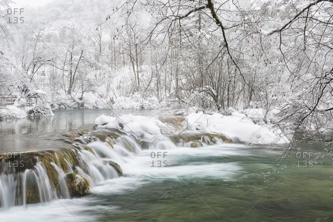 Frozen lakes and waterfalls in Plitvice Lakes National Park, Croatia, Jezerce, Dalmatia