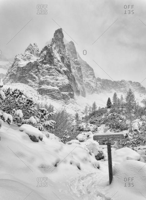 A winter view of the dolomites near Sorapiss lake, Italy, Belluno, Veneto