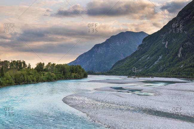 Tagliamento river at sunset, Venzone, Friuli Venezia Giulia, Italy, Udine