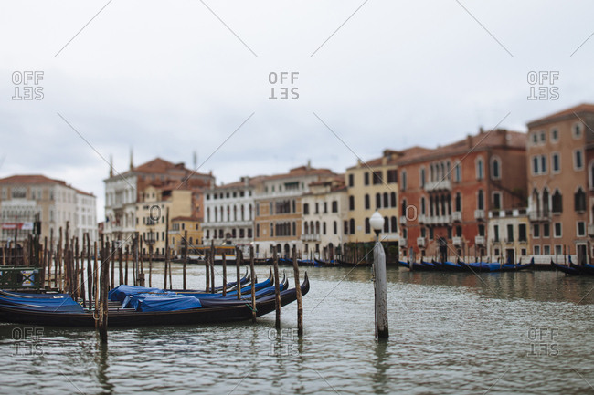 Tilt shift of gondolas on the Grand Canal in Venice Italy