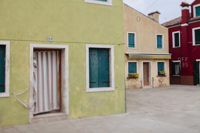 Tilt shift of homes in Burano Italy
