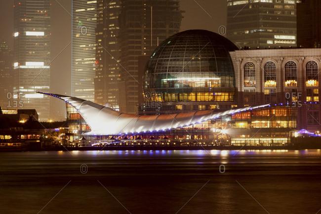 Shanghai, China - November 26, 2009: The Pudong district of Shanghai at night