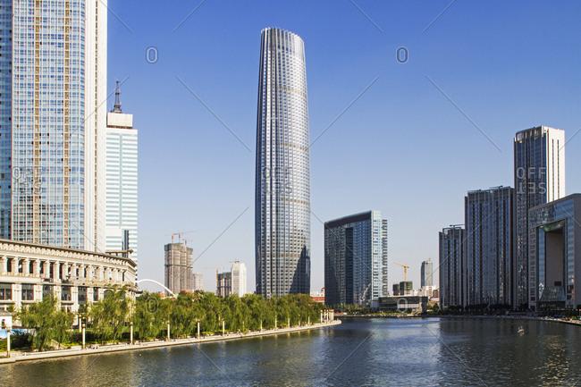 Tianjin, China - August 22, 2012: Tall buildings in downtown Tianjin, China