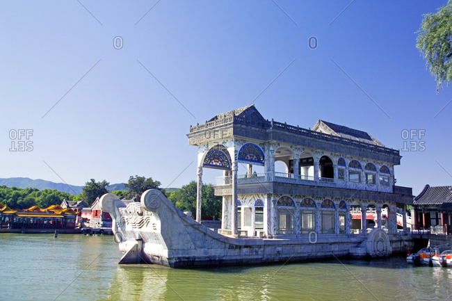 Beijing, China - September 26, 2006: Marble boat at the Summer Palace in Beijing