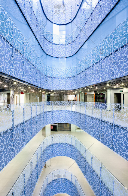 Beijing, China - January 26, 2012: Interior of modern shopping center in Beijing