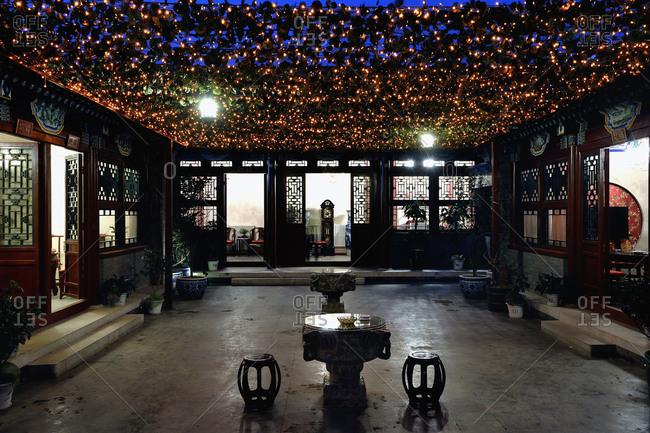 Beijing, China - May 9, 2010: Courtyard of Chuyuan Restaurant in Chongwen District