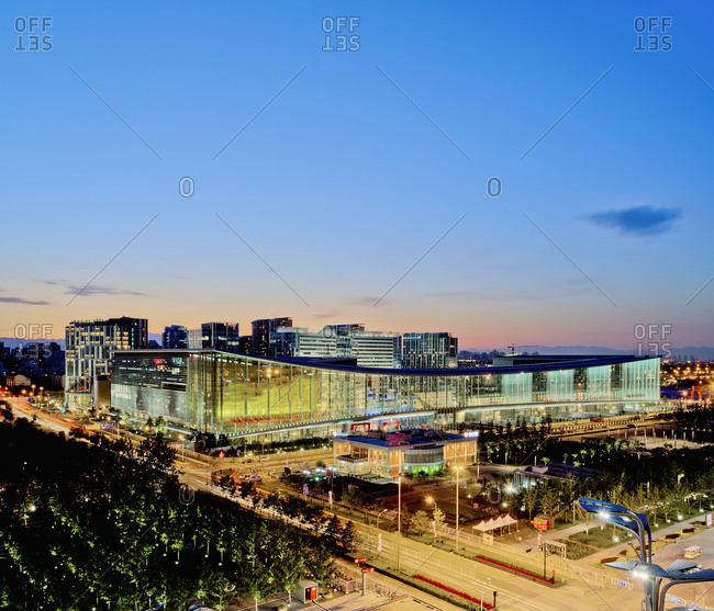 Beijing, China - September 19, 2011: The Beijing national conference center location at sunset