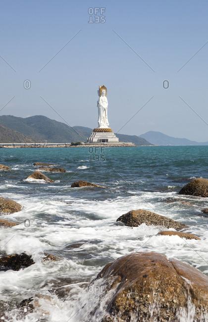 Sanya, China - January 31, 2010: Guanyin of Nanshan on the coast of Hainan Island