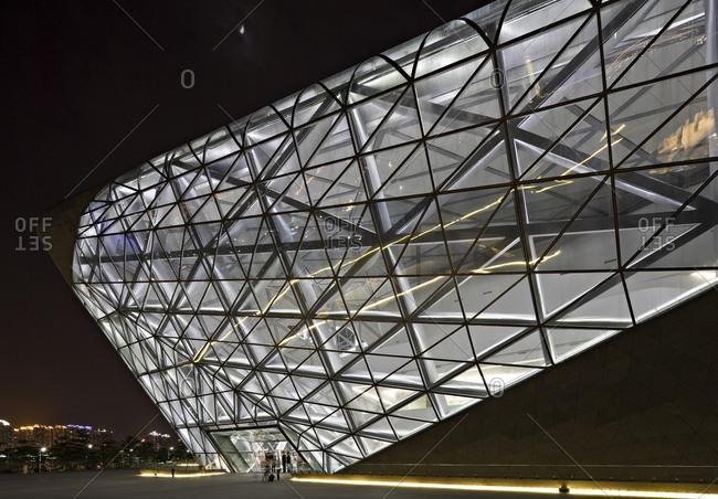 Guangzhou, China - June 18, 2010: Guangzhou opera house illuminated at night
