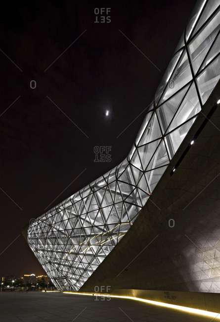 Guangzhou, China - June 18, 2010: Guangzhou opera house illuminated at nighttime