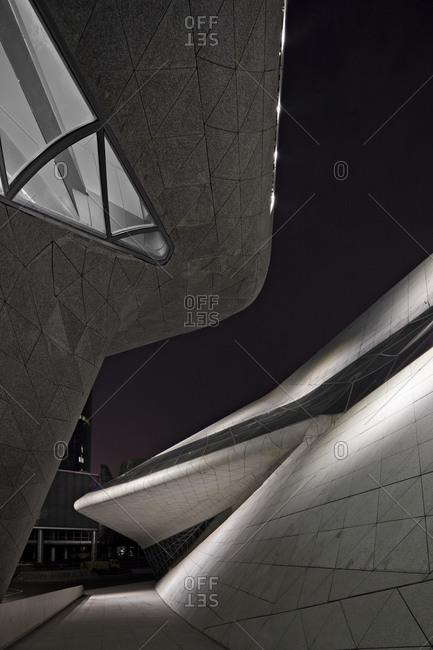 Guangzhou, China - June 18, 2010: Detail of the Guangzhou opera house at nighttime