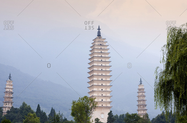 The Three Pagodas of the Chongsheng Temple in Dali, China