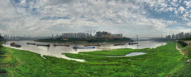 Panoramic view along the Yangtze river in Chongqing, China