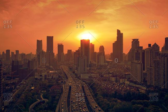 Golden sunset over Shanghai, China