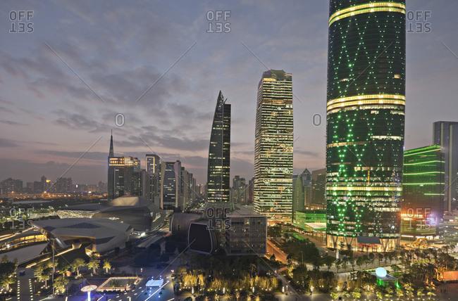 Guangzhou, China illuminated at night