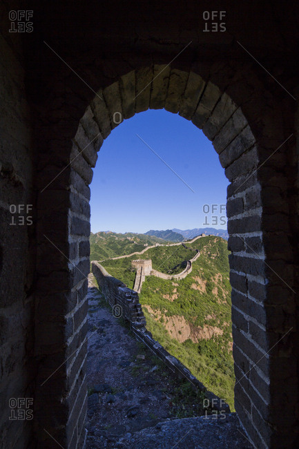 Looking through archway at Jinshanling of the Great Wall in Beijing
