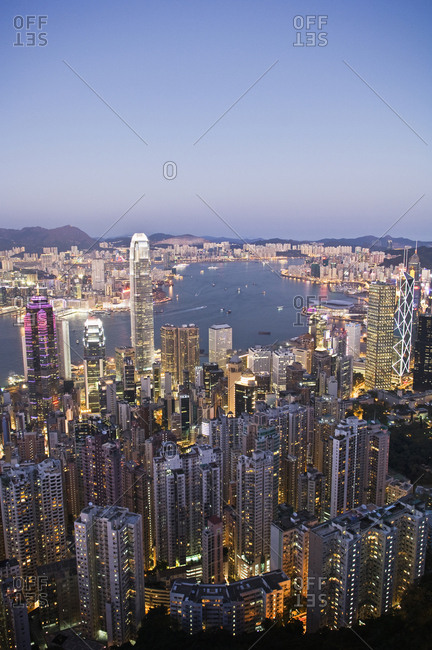 Aerial view of Victoria Bay at night in Hong Kong