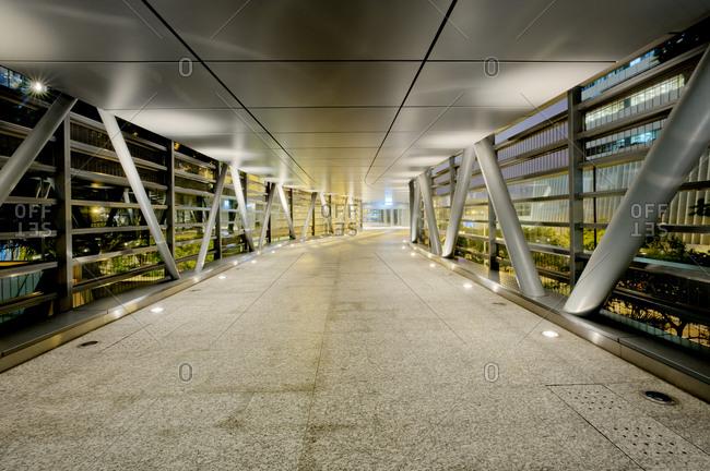 Urban footbridge overpass in Hong Kong