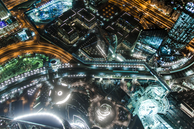 Dubai, United Arab Emirates - October 15, 2014: Overlooking the skyline of the city. Dubai is located on the southeast coast of the Persian Gulf and the most populous city and emirate in the United Arab Emirates