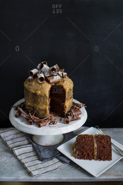 German chocolate cake with slice removed