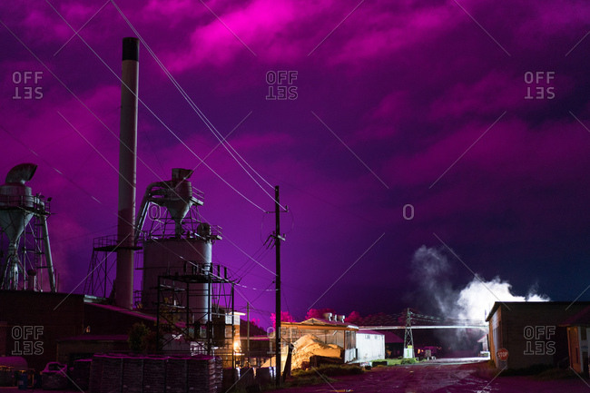 Industrial plant in purple setting