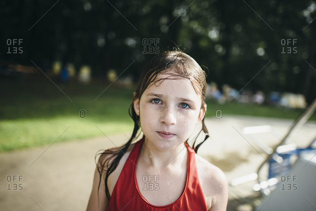 Girl in portrait at pool