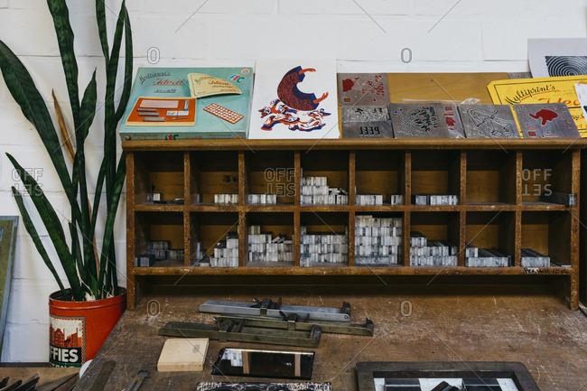 Antwerp, Belgium - May 29, 2017: Work desk in the Kaastar Print Workshop