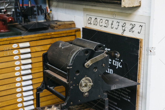 Antwerp, Belgium - May 29, 2017: Letterpress machine in the Kaastar Print Workshop