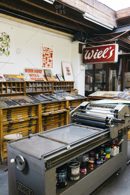 Antwerp, Belgium - May 29, 2017: Interior of the Kaastar Print Workshop