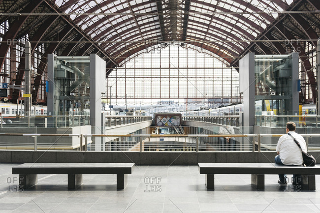 Antwerp, Belgium - May 31, 2017: Interior view of the Antwerp Central Station