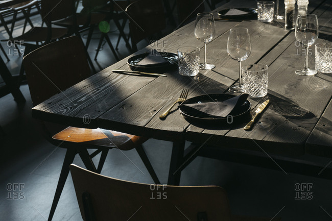 Set table at a restaurant in Antwerp, Belgium