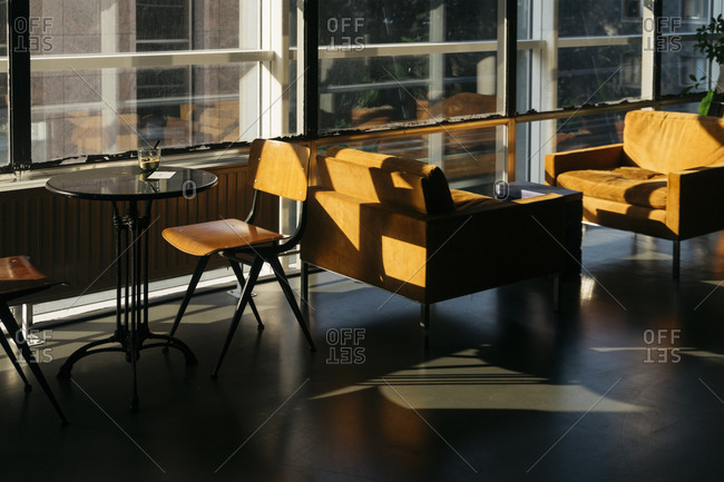Table, chairs and sofas at Coffee labs in a coffee shop