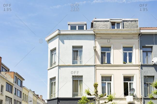 Antwerp, Belgium - June 1, 2017: Exterior of apartment buildings in Antwerp, Belgium