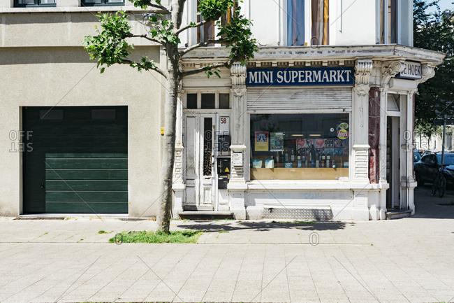 Antwerp, Belgium - June 1, 2017: Exterior of a Mini Supermarket store