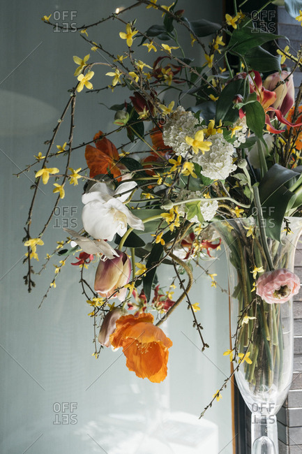 Floral arrangement in a clear vase