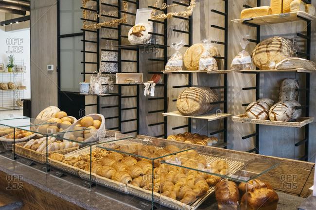 Antwerp, Belgium - June 2, 2017: Poilane bakery in Kanaal, a place designed by Alex Vervordt