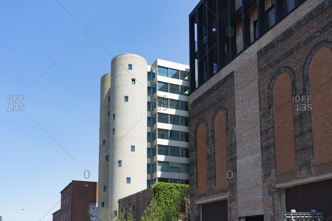 Buildings in Kanaal, a place designed by Alex Vervordt in Antwerp, Belgium