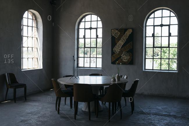 Antwerp, Belgium - June 2, 2017: Dining room of home in Kanaal, a place designed by Alex Vervordt