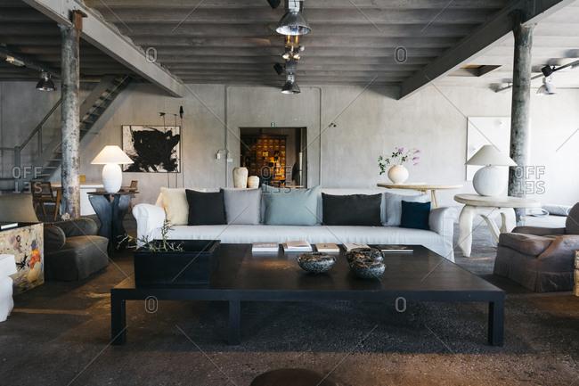 Antwerp, Belgium - June 2, 2017: Interior of home in Kanaal, a place designed by Alex Vervordt