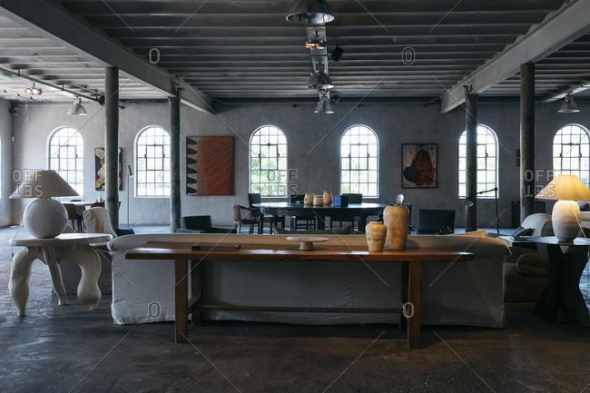 Antwerp, Belgium - June 2, 2017: Interior of open-concept home in Kanaal, a place designed by Alex Vervordt