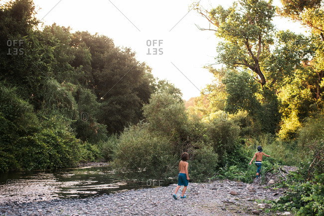 Boys exploring by a rural stream