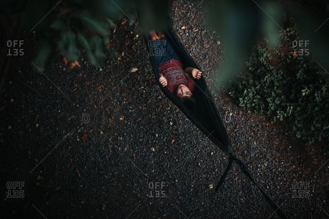 Boy in hammock seen from above