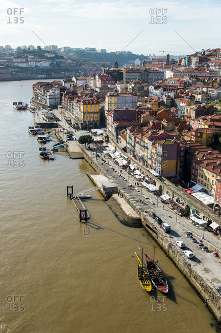 Porto, Portugal - March 2, 2016: Views of the old town of Oporto and the Douro River