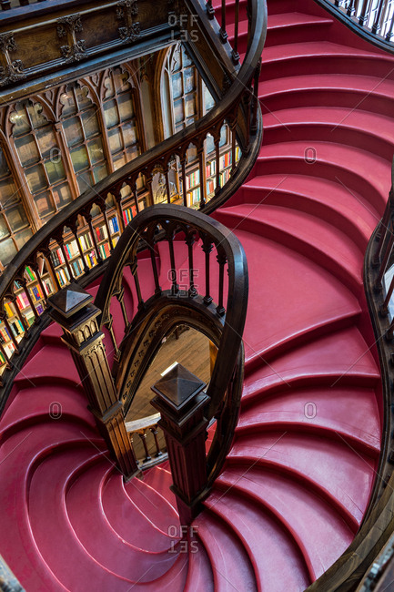 Porto, Portugal - March 3, 2016: Staircase in the Library Lello & Irmao