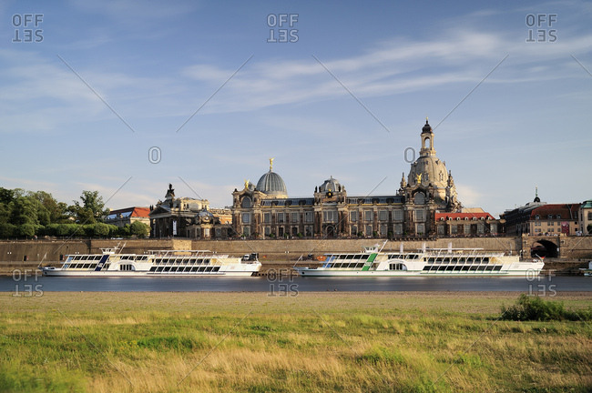 June 12, 2017: Germany- Saxony- Dresden- Bruehl's Terrace with Frauenkirche and Academy of Fine Arts at River Elbe