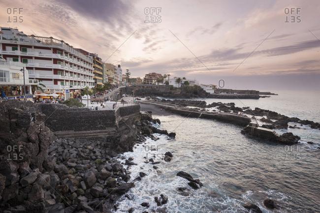 December 6, 2015: Spain- Canary Islands- Tenerife- Puerto de la Cruz at sunset