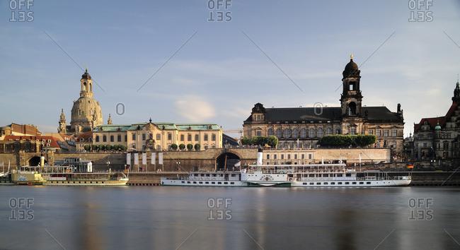 June 12, 2017: Germany- Saxony- Dresden- Bruehl's Terrace with Frauenkirche and Sekundogenitur at River Elbe